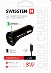 80231280 SWISSTEN CL ADAPTÉR QUICK CHARGE 3.0 A USB 2,4A 18W POWER + KABEL MICRO USB Auto Petr