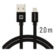 802382 SWISSTEN TEXTILE datový kabel USB/Lightning 2,0m Auto Petr